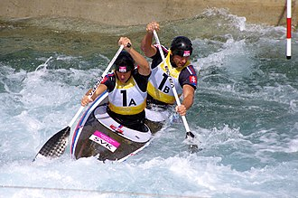 Canoeing at the 2012 Summer Olympics – Men's slalom C-2 - Image: Slalom canoeing 2012 Olympics C2 SVK Pavol Hochschorner and Peter Hochschorner