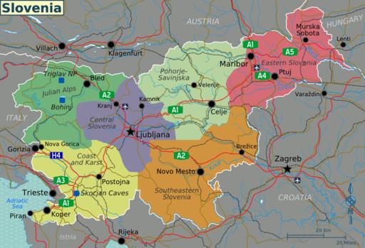 Slovenia regions map