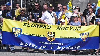 "Silesians - ""Ślůnsko nacyjo bůła, je i bydzie"", which means ""Silesian Nation was, is, and will be"" - IIIrd Autonomy March, Katowice, 18 July 2009"