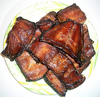 Smoking (cooking) - Hot-smoked chum salmon.