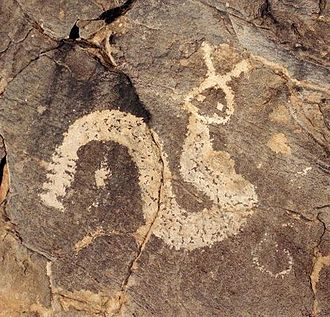 Horned Serpent - Rock art depicting a Horned Serpent, at Pony Hills and Cook's Peak, New Mexico