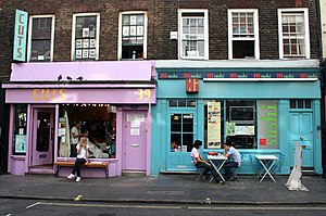 Soho - Colourful shop windows in a typical Soho backstreet in London