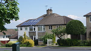 Solar power in the United Kingdom - Image: Solar panels on a 1930s semi on Barleyfields Road, Wetherby (31st May 2013)