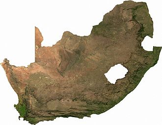 Great Escarpment, Southern Africa - Satellite image of South Africa. If this image is compared with the map on top, the Great Escarpment can easily be identified.