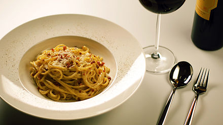Spaghetti alla Carbonara, a typical Roman dish