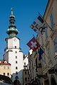 St. Michael Tower clock, Mikalska braha in Bratislava, Slovakia, Eastern Europe, October 20, 2012.jpg