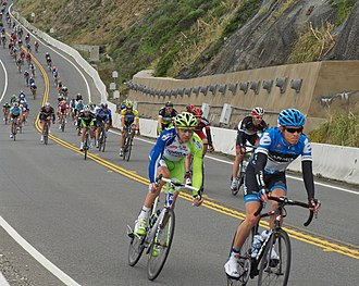 California State Route 1 - Cyclists descend SR 1 at Devil's Slide on Stage 2 of the 2012 Tour of California before the segment was bypassed one year later by the Tom Lantos Tunnels