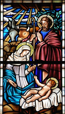 Stained glass window of nativity