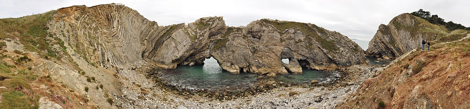 180°-panorama av Stair Hole og lulworthdeformasjonen, Lulworth Cove