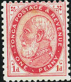George Tupou I - The first Tongan stamp, 1 penny, issued in 1886 that depicts George Tupou I of Tonga.