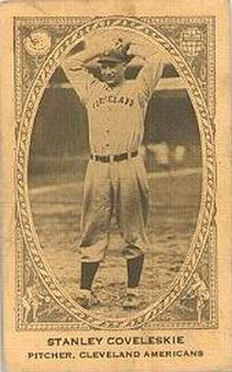 Stan Coveleski - Baseball card of Coveleski; he originally spelled his last name as Coveleskie.