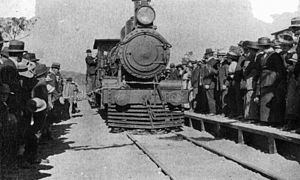 Ferny Grove railway line - Cutting of the ribbon at the opening of the railway to Samford, 1919