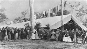 Construction of Queensland railways - Official opening of the first section of the Ipswich to Grandchester railway, Ipswich, 1865