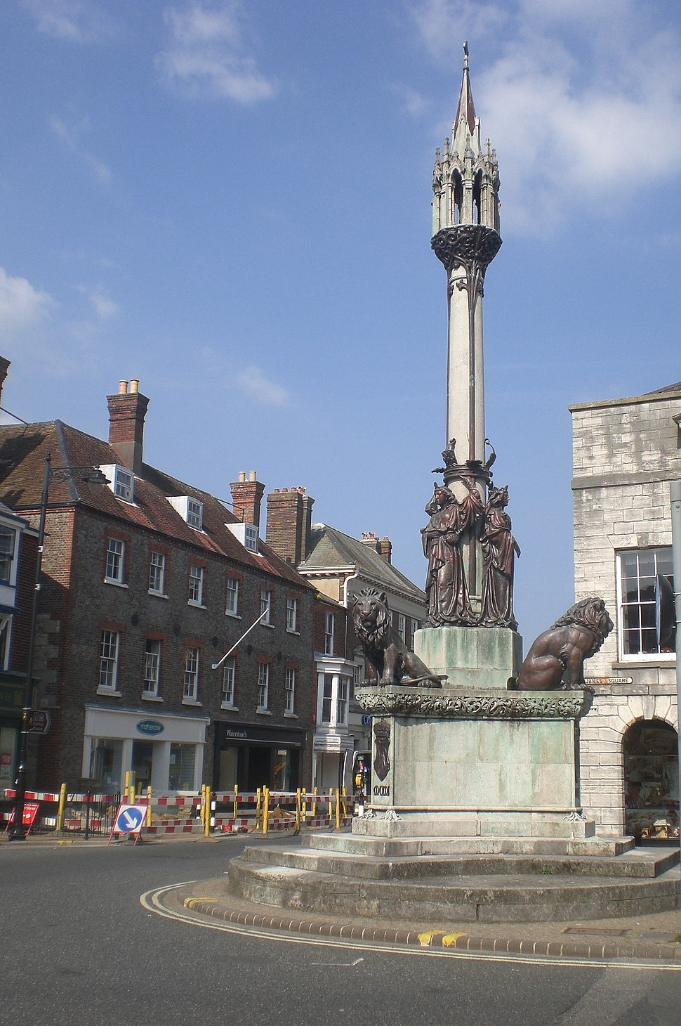 Statue at St James' Square in Newport