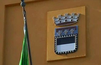 Cesena - Coat of arms of Cesena on the façade of Palazzo Albornoz, the city hall