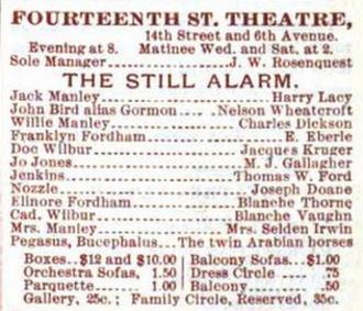 The Still Alarm - Original cast advertisement
