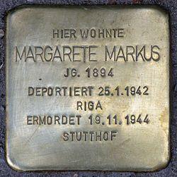 Photo of Margarete Markus brass plaque