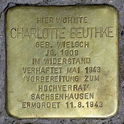 Photo of Charlotte Beuthke brass plaque
