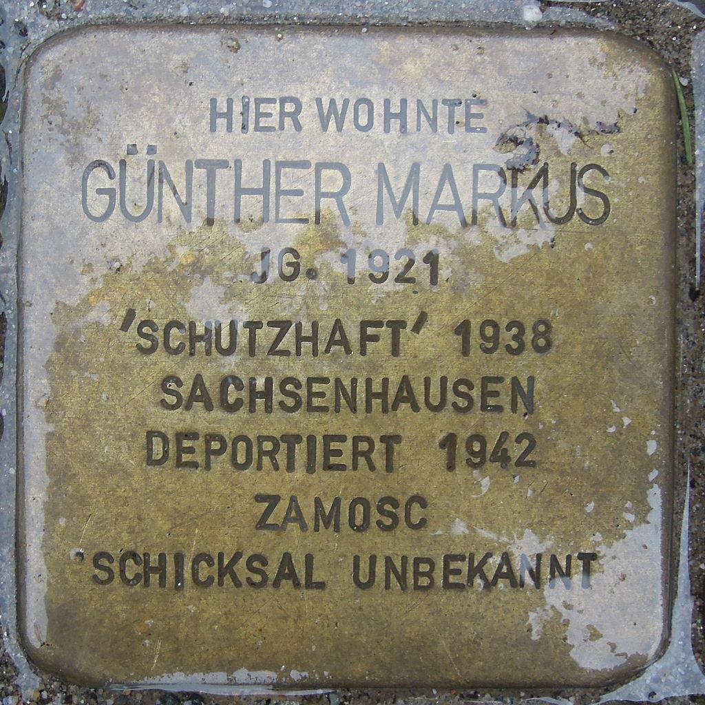 Stolperstein für Günther Markus