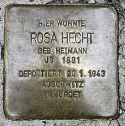 Photo of Rosa Hecht brass plaque