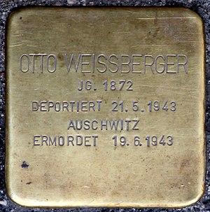 Stolpersteine Salzburg, Otto Weissberger (Rudolfsplatz 3 - Bezirksgericht Salzburg).jpg
