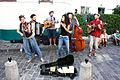 Street musicians in Montmartre, Paris August 2013.jpg