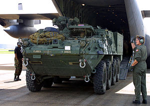 M1129 Mortar Carrier - Image: Stryker MC unloading from C130
