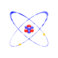 Stylised Lithium ion (charge +1) with two Bohr model orbits and stylised nucleus.png