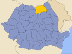 Administrative map of Romania with Suceava county highlighted