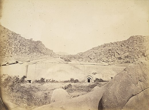 The 3rd century BCE mendicant caves of the Ajivikas (Barabar, near Gaya, Bihar). Sudama and Lomas Rishi Caves at Barabar, Bihar, 1870.jpg