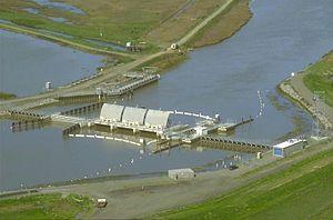 Suisun Marsh - Suisun Marsh Salinity Control Gates, open to allow freshwater into the Montezuma Slough.