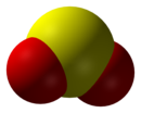 Space-filling model of the sulfur dioxide molecule