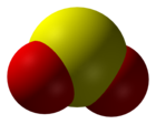 Spacefill model o sulphur dioxide