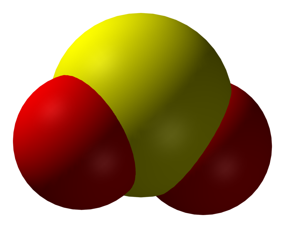 Spacefill model of sulfur dioxide