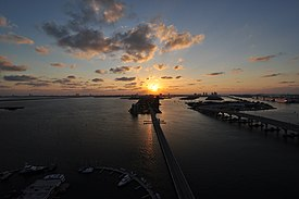 Sunrise over Venetian Causeway in Miami.JPG