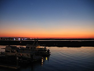 Wildwood Crest, New Jersey - The back bay of Wildwood Crest at sunset.
