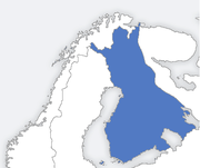 The area controlled by Finland at its largest, in 1942.