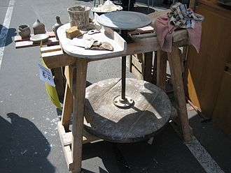 Potter's wheel - Classic potter's kick-wheel in Erfurt, Germany