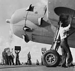 TBF-1 of VT-10 launches from USS Enterprise (CV-6) during Battle of Santa Cruz Islands 1942 (80-G-30059).jpg