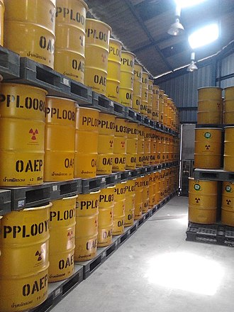 Radioactive waste - TINT low-level radioactive waste barrels.