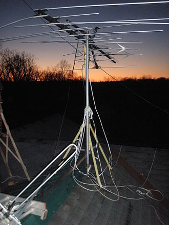 Tripod - A tripod used to support a rooftop television antenna