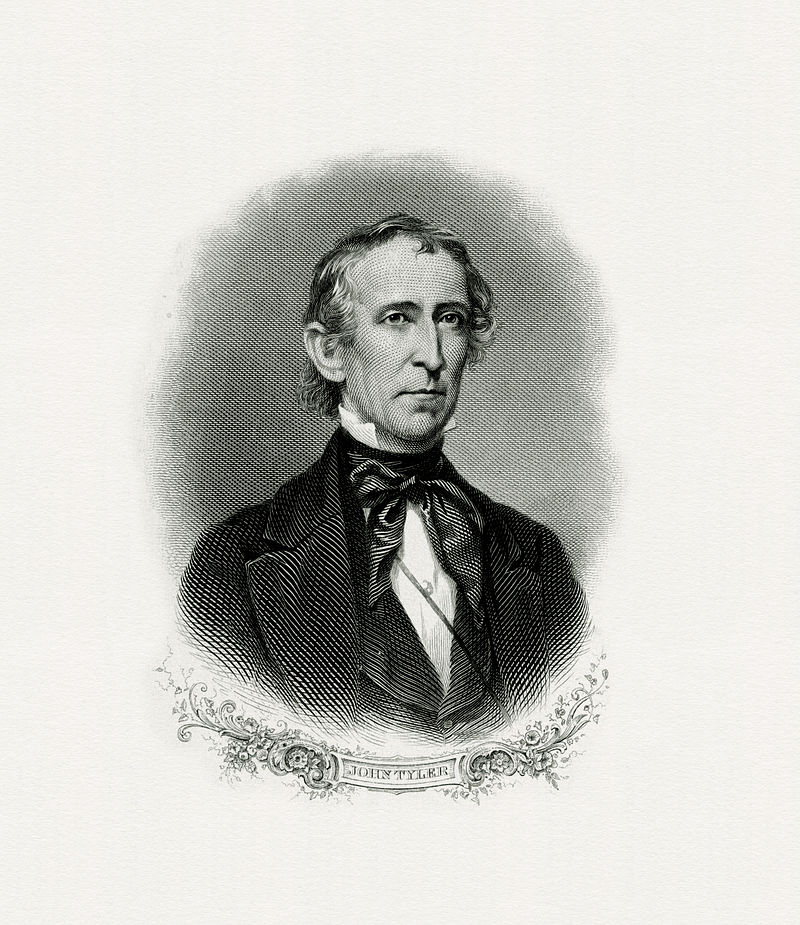 BEP engraved portrait of Tyler as president.