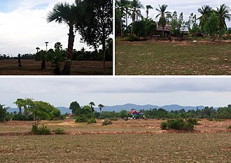 Geography of Cambodia - cultivated lowlands in rural Takeo Province at the end of the dry season, May 2010
