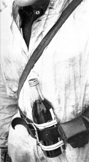Molotov cocktail - A Finnish soldier with a Molotov cocktail in the 1939–40 Winter War