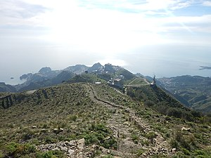 Taormina - Taormina seen from Mount Venere, in the Peloritani mountains.