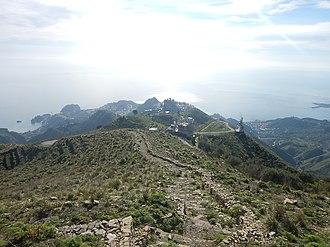 Taormina - Taormina seen from Mount Venere, in the Peloritani mountains.