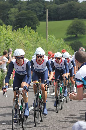 David Millar - Millar on the front of the peloton during the 2012 Olympic Road Race