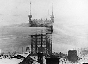Old Stockholm telephone tower - The telephone tower around 1890