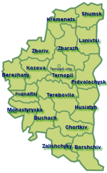 map of Ternopyl Oblast