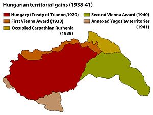 Hungarian occupation of Yugoslav territories - Image: Territorial Gains Hungary 1920 41